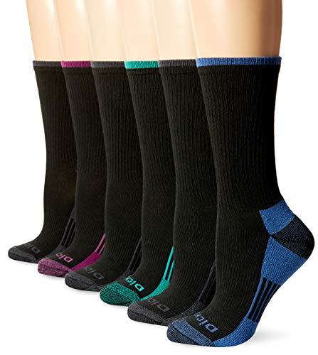 Dickies Women's Dritech Advanced Moisture Wicking Crew Sock (6/12 Packs), Black (12), Shoe Size: 6-9