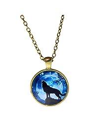 1PCS Fashion Glass Pendant Necklace Vintage Charm Chain