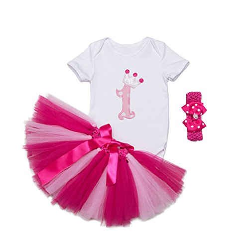 First Birthday Princess Dress - Mornyray Baby Girls 1st Birthday Tutu Short Outfit Newborn Princess Dress 3PCS,Rose Red 1Y,12-24M