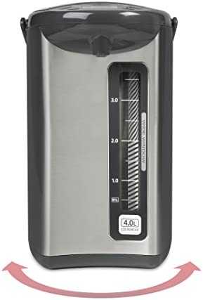 41NiETPIblL. AC Zojirushi CD-WHC40XH Micom Water Boiler & Warmer, 135 oz, Stainless Gray    Zojirushi Micom water boiler and warmer has a micro computerized temperature control system and a one-touch electric dispensing system. It has four keep warm temperature settings: 160, 175, 195, 208 degrees F. This unit displays actual water temperature at all times. It also has an energy saving timer function (6 - 10 hours) and easy-to-hear sound indicator to alert completion of boiling process or low water level. Quick temp mode heats the water directly to the selected keep warm temperature without reaching a boil. The water will reach the selected keep warm temperature quicker than regular mode. Other benefits include a swivel base for serving convenience and a detachable lid. The clear coated stainless steel body and new rust resistant stainless steel interior is easy-to-clean and all surfaces that come into contact with food or beverage is BPA-Free.