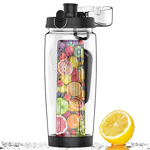 Saizone 32oz 900ml Fruit Infuser Sports Water Bottle Infuser Cup BPA Free Tritan Leak Proof Design (Black)