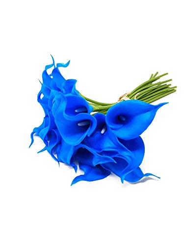 FRP Flowers 20 PCS Real Touch Calla Lily Latex Flowers for Artificial Floral Arrangements, Bridal Bouquets, and Home Decor (Blue)