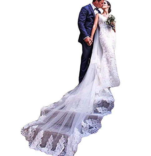 - Simlehouse Vintage Lace Tulle 3M Cathedral Wedding Veils Church Bridal Veil With Comb-White