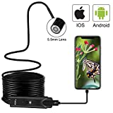 USB Endoscope Inspection Camera for iPhone/Android 2.0MP CMOS HD Waterproof Borescope Snake Camera -16.5FT