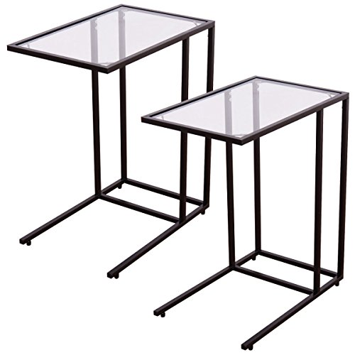UBRTools 2PCS Coffee Tray Side Sofa End Table Ottoman Couch Stand TV Lap W/Glass Top - Glass Ottoman