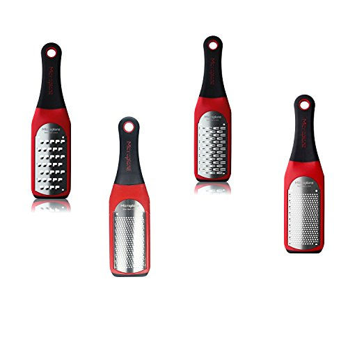Fine Ribbon Grater - Microplane Artisian Greater Set of Coarse Grater, Fine Grater, Extra Coarse Grater and Ribbon Grater, Red.