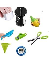 CheckOut 12-1 Cooking Essential set - Includes Garlic Scraper, Spiral Slicer, Knife Sharpener & More! save