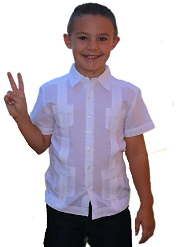 Boys Linen Guayabera Shirt (GUAYABERASCUBANAS Authentic and Traditional Cuban Guayabera For Kids. Party, Baptism and festivities. Linen For Kids. (6-7))