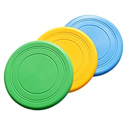 Pawliss Durable Silicone Flying Disc Dog Outdoor Training Fetch Toy Frisbee 3 Pack 3Pcs
