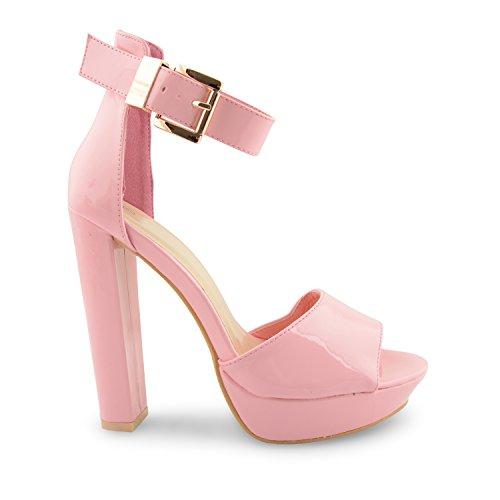 fiesta mujer alto para Oro de Ladies Rosa Toe Peep sandalias New tobillera Strappy noche Glam Plataforma talón Hebilla zapatos vSYwq7H