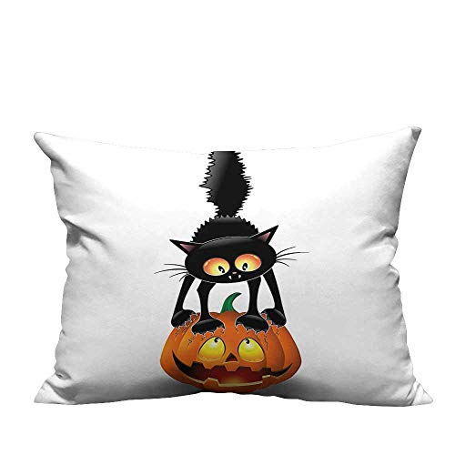 YouXianHome Zippered Pillow Covers Cat Pumpk Head Spooky Characters Halloween Humor Themed Orange Blac Decorative Couch(Double-Sided Printing) 19.5x54 inch ()