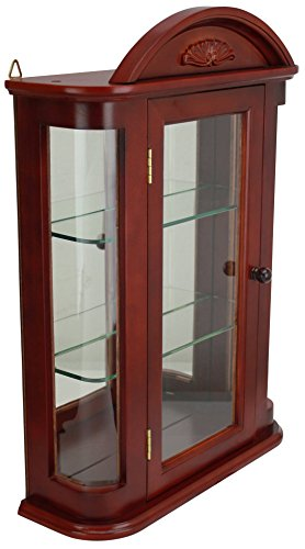 Chest Figurine Set (Design Toscano Rosedale Glass Wall Mounted Storage Curio Cabinet, 22 Inch, Hardwood, Mahogany)
