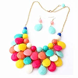 Stone Fashion Floating Bubble Necklace Teardrop Bib Collar Statement Jewelry for Women