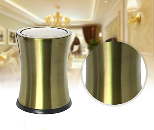 CSQ Stainless Steel Trash Can, Shake Cover Trash Can Metal Flip Cover Trash Can Creative Household Bathroom Bedroom Storage Bucket 2230CM Indoor by Outdoor trash can (Image #3)