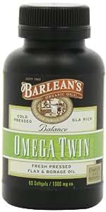 Barlean's Organic Oils Fresh Omega Twin 1000 mg Softgels, 60 Count Bottle