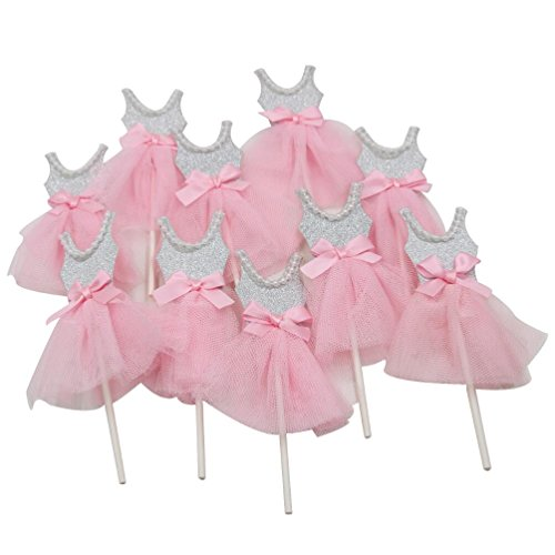 Mybbshower Pink Silver Ballerina Cupcake Toppers for Tutu Birthday Party Baby Girl Shower Decorations Pack of 10 ()