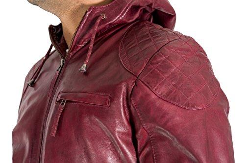 del de a diamante con cuero hombres el de Borgo Acolchar hombro Capucha codo los y de remiendo de la chaqueta el tqwf4pUA
