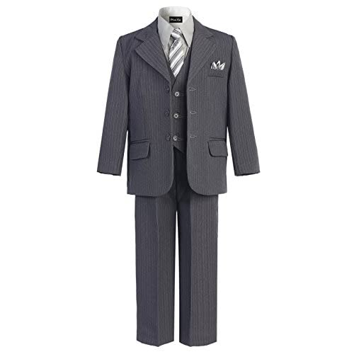 OLIVIA KOO Boys Pinstripe 6-Piece Suit with Matching Neck Tie and Pocket Square