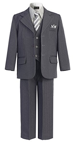 OLIVIA KOO Boys Pinstripe 6-Piece Suit with Matching Neck Tie and Pocket Square,Gray,5