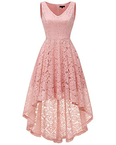 Bridesmay Women's Elegant V-Neck Vintage High Low Sleeveless Floral Lace Cocktail Party Swing Dress Blush M ()