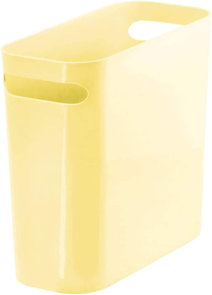 mDesign Slim Plastic Rectangular Trash Can Wastebasket, Garbage Container Bin with Handles for Bathroom, Kitchen, Home Office, Dorm, Kids Room - 10 Inches High, Shatter-Resistant - Light Yellow