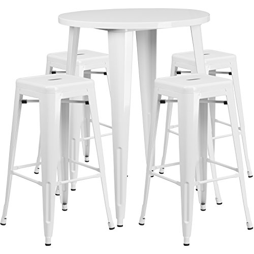 Flash Furniture 30'' Round White Metal Indoor-Outdoor Bar Table Set with 4 Square Seat Backless Stools