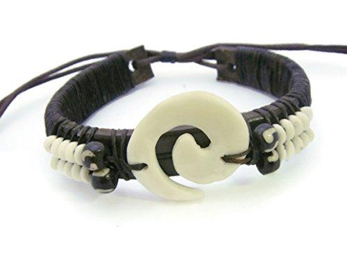 [APECTO Jewelry White Beads Synthetic Bone Leather Tribal Surfer Wrap Bracelet, SN5] (Polynesian Girl Costume)