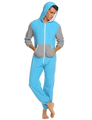 Ekouaer Family Pajamas Hooded One Piece Coupe Pajamas Onesie Jumpsuit Adult for Men Non Footed Women Pajamas Sleepwear S-XXL Blue -