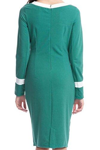 Fermeture À Glissière Solide Manches Longues Femmes Coolred Robes De Soirée De Fête Mince Vert