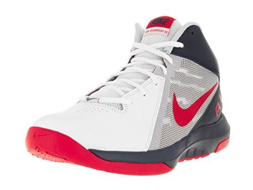 Nike Herren the Air Overplay IX Sportschuhe-Basketball, Blanco (White / University Red-Obsidian), 45 EU