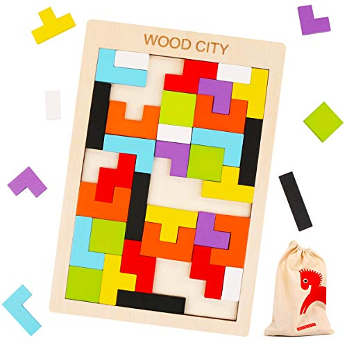 Wooden Tetris Puzzle with a Storage Bag – WOOD CITY Tangram Puzzles for Kid & Adult – Montessori Brain Teasers Toys for…