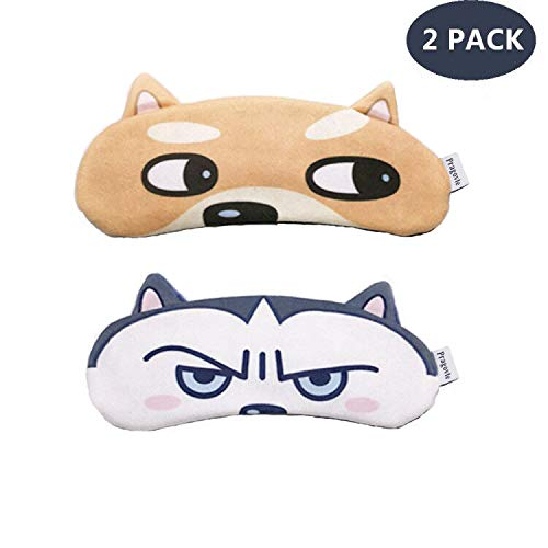 [2 PACK] MicroBird Dog Cute Sleep Eye Night Mask for sleeping, Super Soft and Light for women and kids men for Insomnia Puffy Eyes, Blindfold Eyeshade
