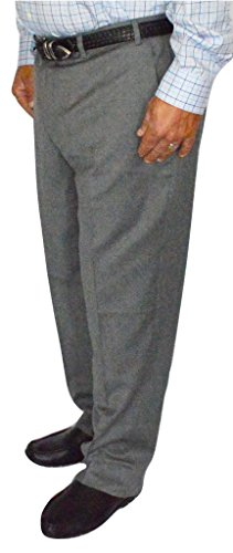 Mens Wool Gabardine Pants (Kirkland Signature Men's Wool Gabardine Flat Front Dress Slack Pant, Light Grey, Size 36x30)