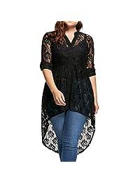 ASTV Women Plus Size Blouse Long Sleeve Lace Shirt Button Up Tops
