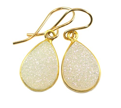 14k Gold Teardrop Bezel - 14k Gold Filled Drusy Earrings White Druzy Teardrop Goldtone Bezel Set Simple Drops