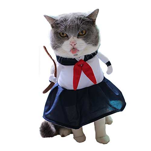Fun Cat Costumes (WeeH Dog Costume Halloween Cat Clothing Cosplay Japan Style Pet Clothes for Doggy Kitty Rabbits Pig Fun Christmas Gift, School Girl)