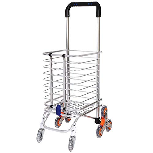 4tens Portable 4 Wheel Hand Stainless Steel Folding Travel Handheld Trolley Luggage Carry Cart (Silver) (B07XDK6YC4) Amazon Price History, Amazon Price Tracker