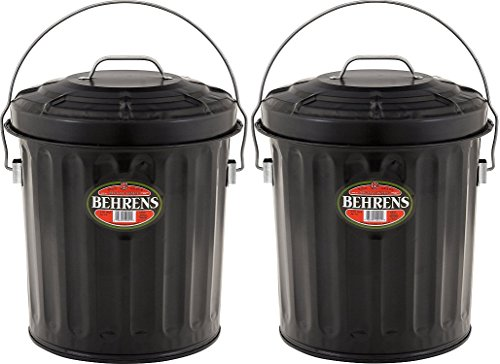 Behrens B907P Steel Black Ash Pail (Pack of 2) by Behrens Manufacturing
