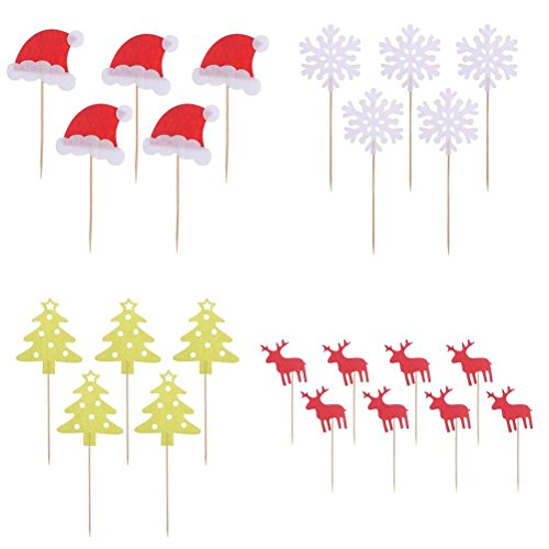 Christmas Cupcake Toppers Tinksky Christmas Cake Decorations Pack of 40 - Snowflake Wedding Cake Top