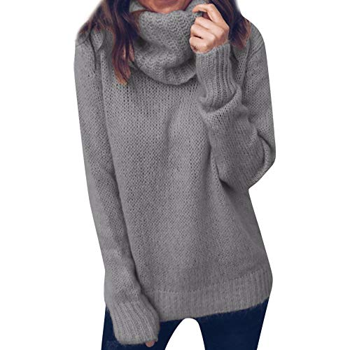 womens tops,Kulywon Women Solid Long Sleeve Turtleneck Knitted Sweater Jumper Pullover Top Blouse(XXL/US 12,Gray-1)