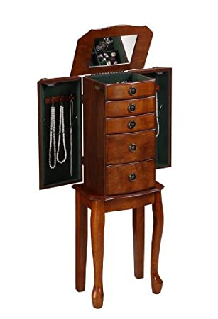 Jewelry Armoire Queen Anne Legs In Walnut Finish