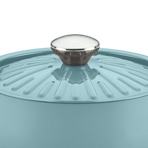 Rachael Ray Cucina Hard Porcelain Enamel Nonstick Covered Round Casserole, 4.5-Quart, Agave Blue by Rachael Ray (Image #6)