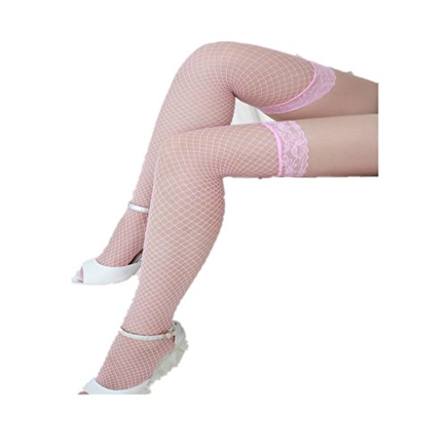 Beautyvan, Fashion Sexy Lingerie Lace Fishnet Thigh High Stockings (Pink) (Victoria Secret Halloween Costume)