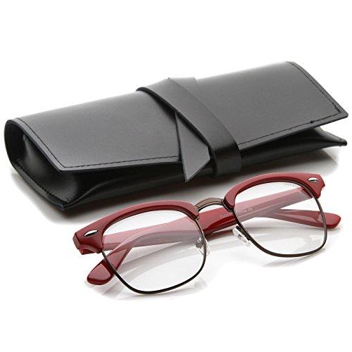 zeroUV - Retro Square Clear Lens Horn Rimmed Half-Frame Eyeglasses 50mm (Red-Bronze / - Glasses Frame Red Half