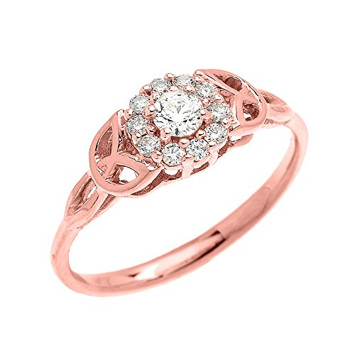 Dainty 10k Rose Gold Trinity Knot Halo Solitaire CZ Engagement and Proposal Ring (Size 5) by CZ Engagement Rings