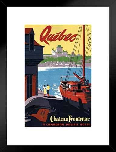 (Poster Foundry Quebec Chateau Frontenac Vintage Travel Art Print Matted Framed Wall Art 20x26 inch)