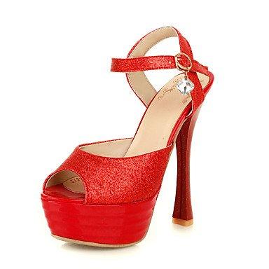 ligaosheng Mujer-Tacón Stiletto-Otro-Sandalias-Informal-Materiales Personalizados-Rojo Plata Oro gold