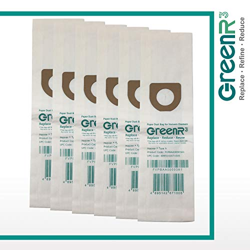 GreenR3 6-PACK Paper Vacuum bags For Hoover Type A fits Tempo Bissell Style 2 Kenmore 5037 50378 Singer SUB-3 HEMS-1 Advance 1200 Model Series Parts PN and -