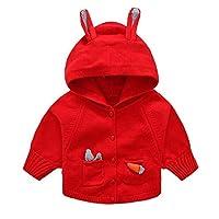 Jingle Bongala Girls Sweater Cardigan with Hood Outerwear Hooded-RED-10