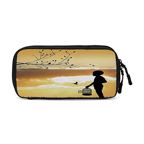Nature Useful Small Data Storage Bag,Little Child Silhouette with a Bird Cage at Sunset in Forest Rural Trees Birds for Office,9.4